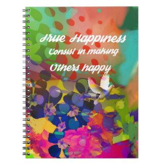 Mensagem da felicidade de Voltaire. Caderno