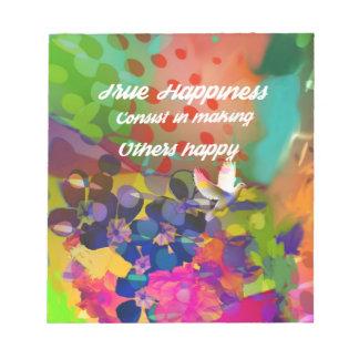 Mensagem da felicidade de Voltaire. Caderno De Anotação