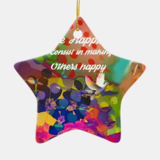 Mensagem da felicidade de Voltaire. Ornamento De Cerâmica Estrela