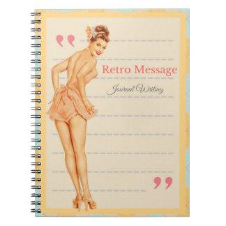 Mensagem retro caderno espiral personalizado