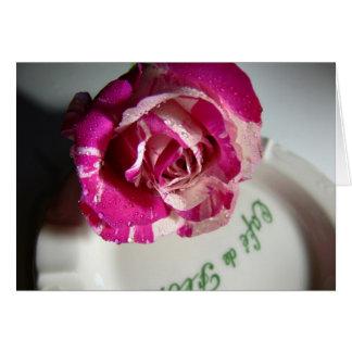 menthe cor-de-rosa de café de flore cartão comemorativo