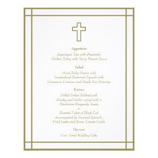 Menu ajustado do casamento da cruz do esboço do ou panfletos