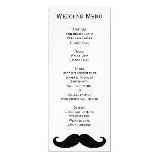Menu alegre branco do casamento com Moustache Convite 10.16 X 23.49cm