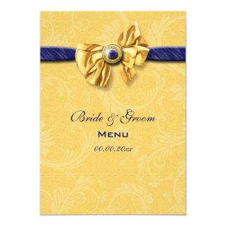 Menu amarelo do casamento dos azuis marinhos convite 12.7 x 17.78cm