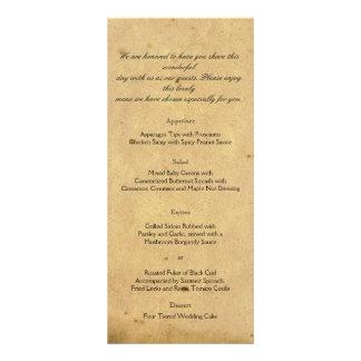 Menu antiquado do casamento do pergaminho da 10.16 x 22.86cm panfleto