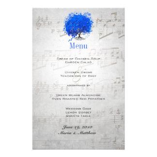 Menu azul do casamento da árvore da folha do papelaria