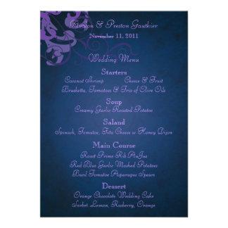 Menu azul do casamento do rolo roxo nobre convite personalizado