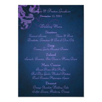 Menu azul do casamento do rolo roxo nobre convite 12.7 x 17.78cm