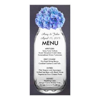 Menu azul hydrangea7 do casamento do frasco de ped 10.16 x 22.86cm panfleto