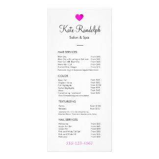 Menu branco da tabela de preços do cabeleireiro 10.16 x 22.86cm panfleto