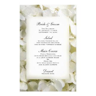 Menu branco do casamento do Hydrangea Papel Personalizados