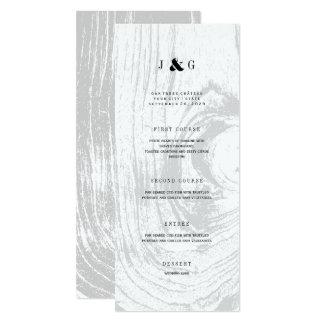 Menu branco do casamento no inverno do Woodgrain Convite 10.16 X 23.49cm