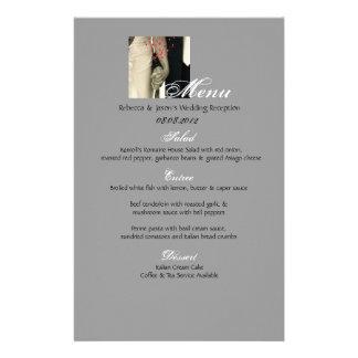 menu branco do casamento vintage do preto elegante papelaria
