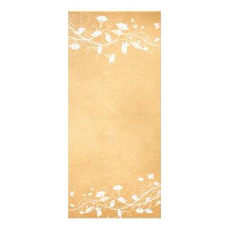 Menu branco do programa do casamento da videira do 10.16 x 22.86cm panfleto