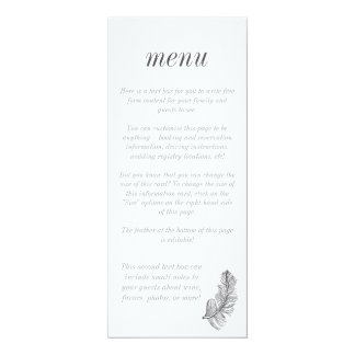Menu cinzento do na moda do Birds of a Feather Convite 10.16 X 23.49cm