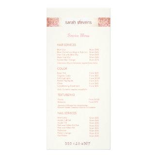 Menu cor-de-rosa da tabela de preços do salão de 10.16 x 22.86cm panfleto