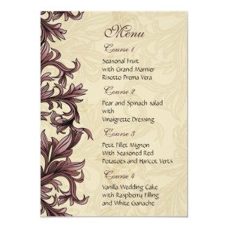 menu cor-de-rosa do casamento convite 12.7 x 17.78cm