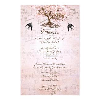 Menu cor-de-rosa do casamento da árvore da folha papelaria