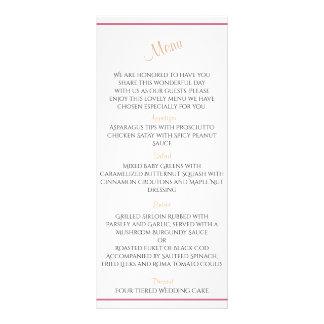 Menu cor-de-rosa do casamento da peônia do vintage