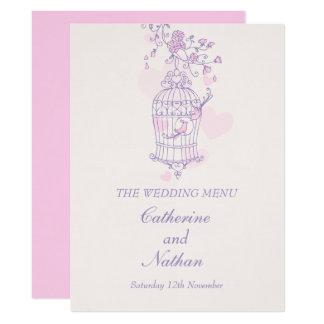 Menu cor-de-rosa roxo do comensal de casamento da convite 16.51 x 22.22cm