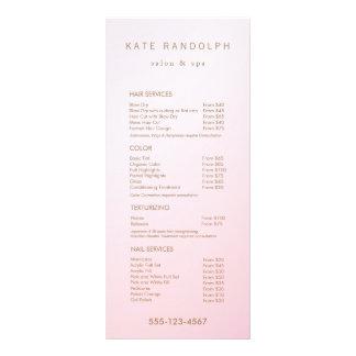 Menu cor-de-rosa simples do serviço da tabela de