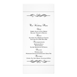 Menu da comida do casamento 10.16 x 22.86cm panfleto