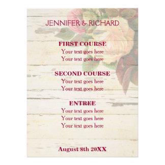 Menu da recepção de casamento do chique dos rosas convite personalizados