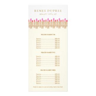 Menu da tabela de preços do maquilhador do batom 10.16 x 22.86cm panfleto