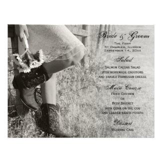 Menu da vaqueira e do casamento do país dos girass panfleto personalizado
