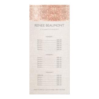 Menu de cobre da tabela de preços do salão de 10.16 x 22.86cm panfleto