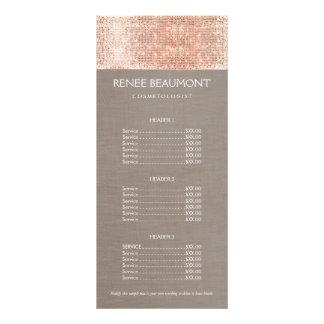 Menu de cobre do preço do cabeleireiro do 10.16 x 22.86cm panfleto