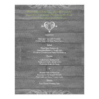 Menu de madeira do casamento do celeiro rústico panfleto