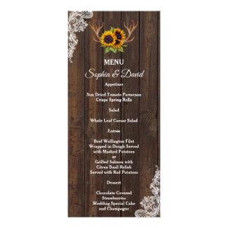 Menu de madeira do casamento do laço dos Antlers