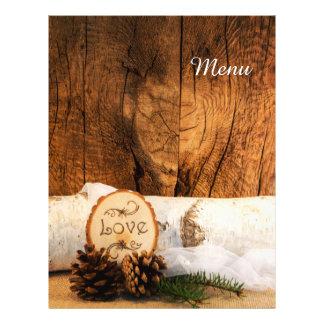 Menu de madeira do casamento do país do celeiro