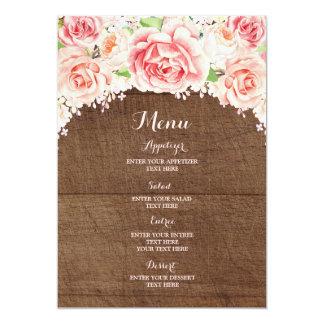 Menu de madeira floral do casamento de Brown da Convite 12.7 X 17.78cm