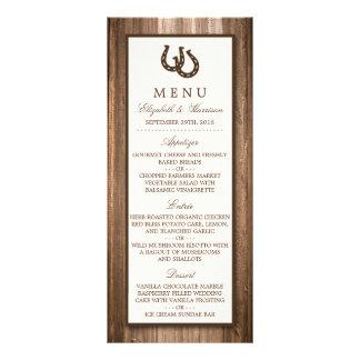 Menu de madeira rústico do casamento da ferradura 10.16 x 22.86cm panfleto