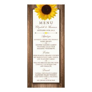 Menu de madeira rústico do casamento do girassol & 10.16 x 22.86cm panfleto