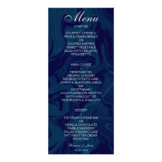 Menu de mármore azul escuro do casamento da 10.16 x 22.86cm panfleto
