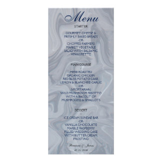 Menu de mármore cinzento do casamento da aguarela 10.16 x 22.86cm panfleto