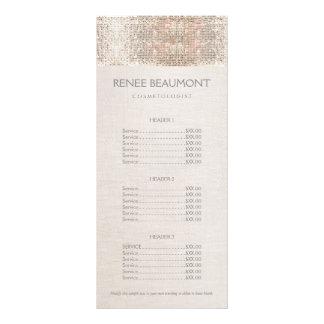 Menu de prata da tabela de preços do salão de 10.16 x 22.86cm panfleto