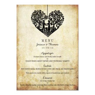 Menu de suspensão do casamento vintage da árvore convite 11.30 x 15.87cm