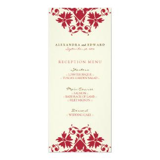 Menu decorativo da recepção de casamento do selo convite 10.16 x 23.49cm
