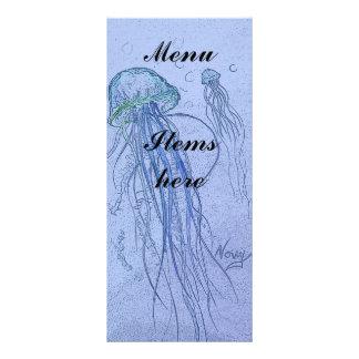 Menu do azul das medusa 10.16 x 22.86cm panfleto