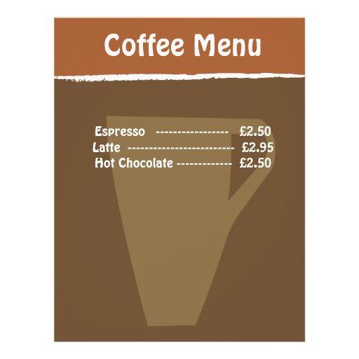 Menu Do Caf   Modelo De Panfletos