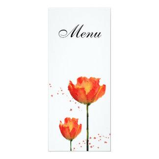 Menu do casamento da aguarela das tulipas convite 10.16 x 23.49cm