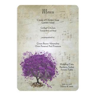 Menu do casamento da árvore da folha de Purple Convite 12.7 X 17.78cm