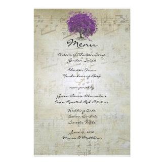 Menu do casamento da árvore da folha de Purple Papelaria