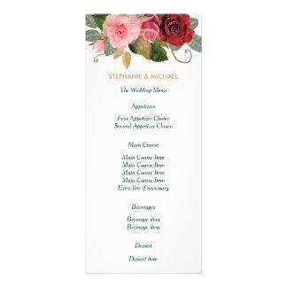 Menu do casamento da beira do rosa do vermelho e