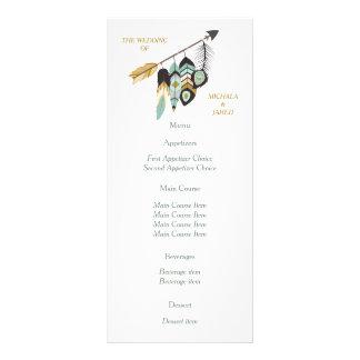 Menu do casamento da seta da pena da cerceta 10.16 x 22.86cm panfleto