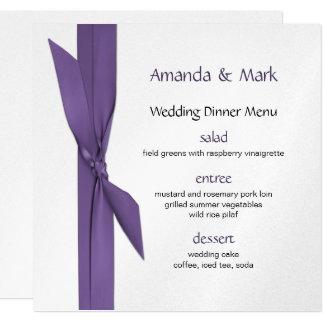 Menu do casamento de prata com fita roxa convite quadrado 13.35 x 13.35cm